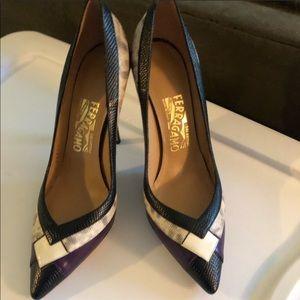 Ferragamo pattern heels.Black/purple/white.Size 8.